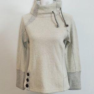 prAna Lucia Sweater Cuff Neck Herringbone Design